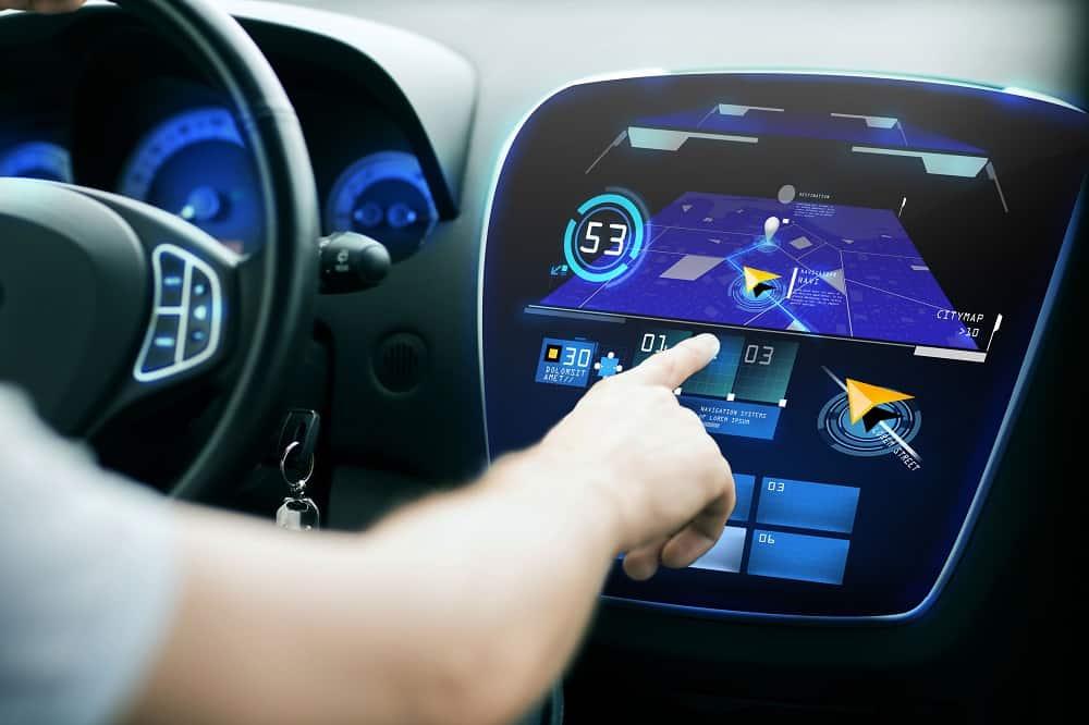 Nowoczesna technologia w samochodzie, panel elektroniczny auta