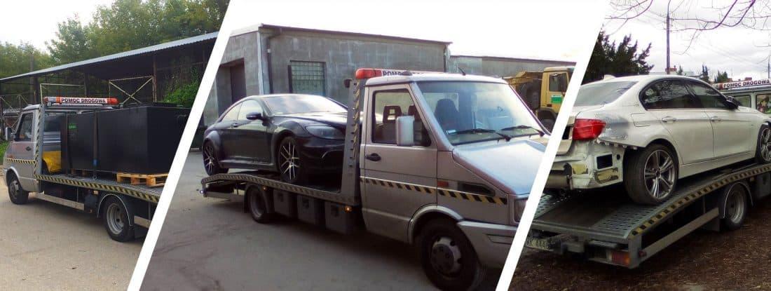 Auta i kontener na lawetach pomocy drogowej